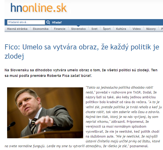 Fico: They have artificially created the impression that every politician is a thief